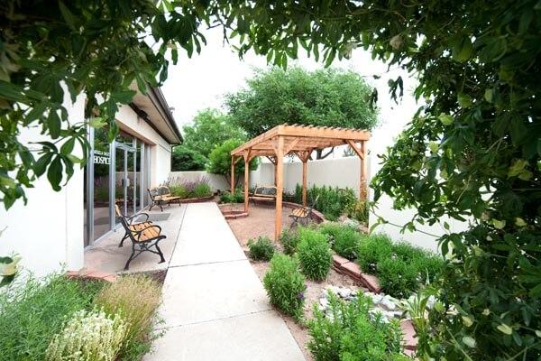 An image of one of La Posada's outdoor patios.